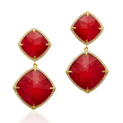 14KT Yellow Gold Diamond Ruby Martine Earrings