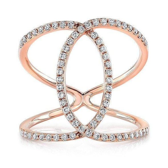 14KT Rose Gold Diamond Cigar Band Ring