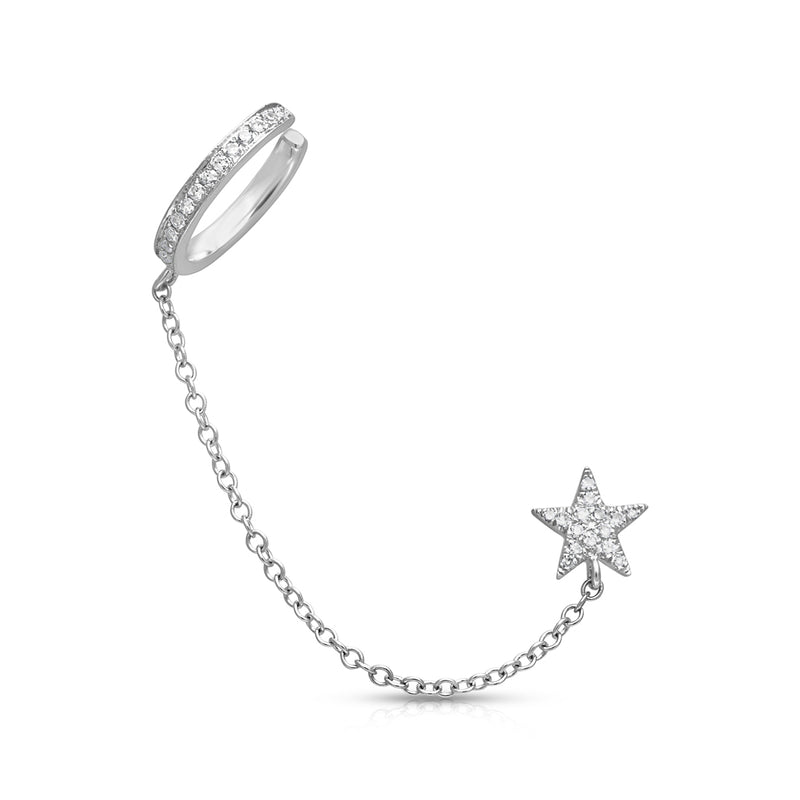 14KT White Gold Diamond Star Stud and Chain Ear Cuff