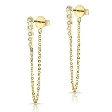 14KT Yellow Gold Diamond Bezel Bar Chain Stud Earrings