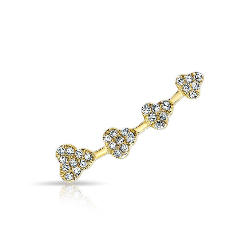 14KT Yellow Gold Diamond Clover Ear Climber