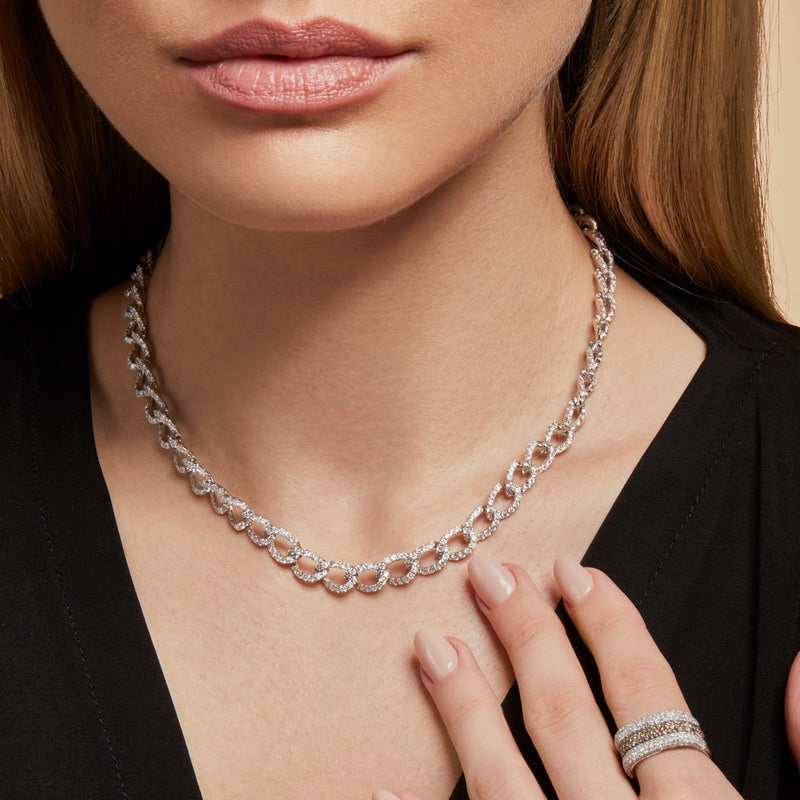 14KT White Gold Diamond Brooke Chain Link Necklace