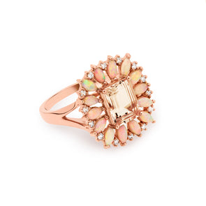 14KT Rose Gold Morganite Opal Diamond Giselle Ring