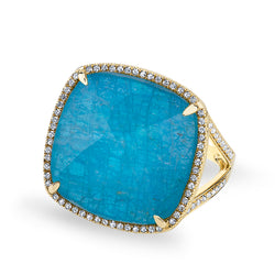 14KT Yellow Gold Apatite Diamond Cushion Cut Cocktail Ring