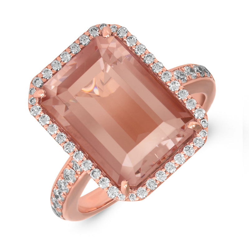 18KT Rose Gold Morganite Diamond Leona Ring