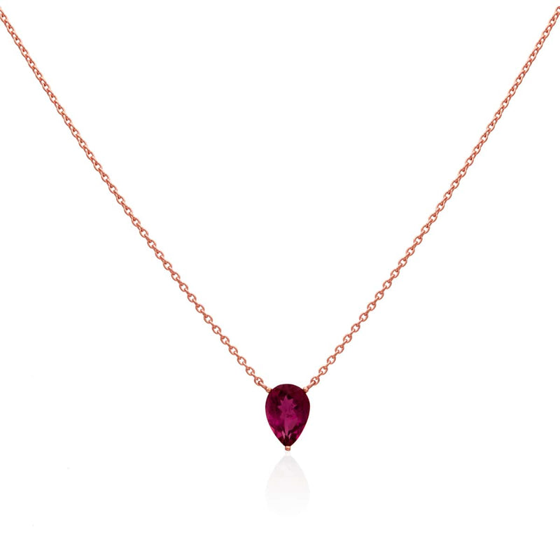 14KT Rose Gold Pink Tourmaline Pear Florentina Necklace