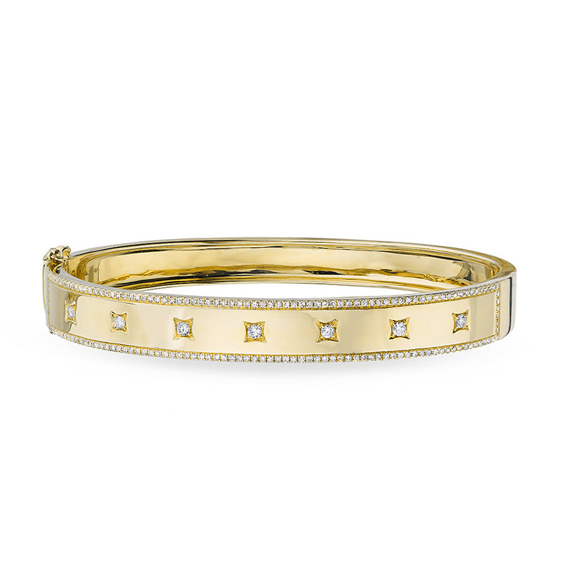 14KT Yellow Gold Diamond Glisten Trimmed Bangle