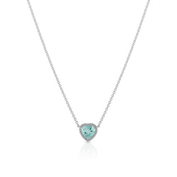 18KT White Gold Aquamarine Diamond Amour Necklace