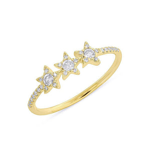 14KT Yellow Gold Diamond Triple Star Carina Ring