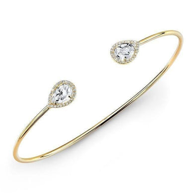 14KT Yellow Gold Mini Throne White Topaz Diamond Cuff