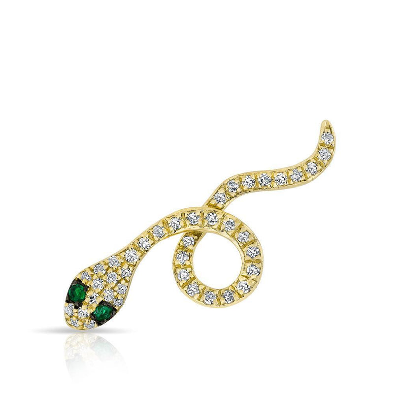 14KT Yellow Gold Emerald Diamond Snake Ear Climber