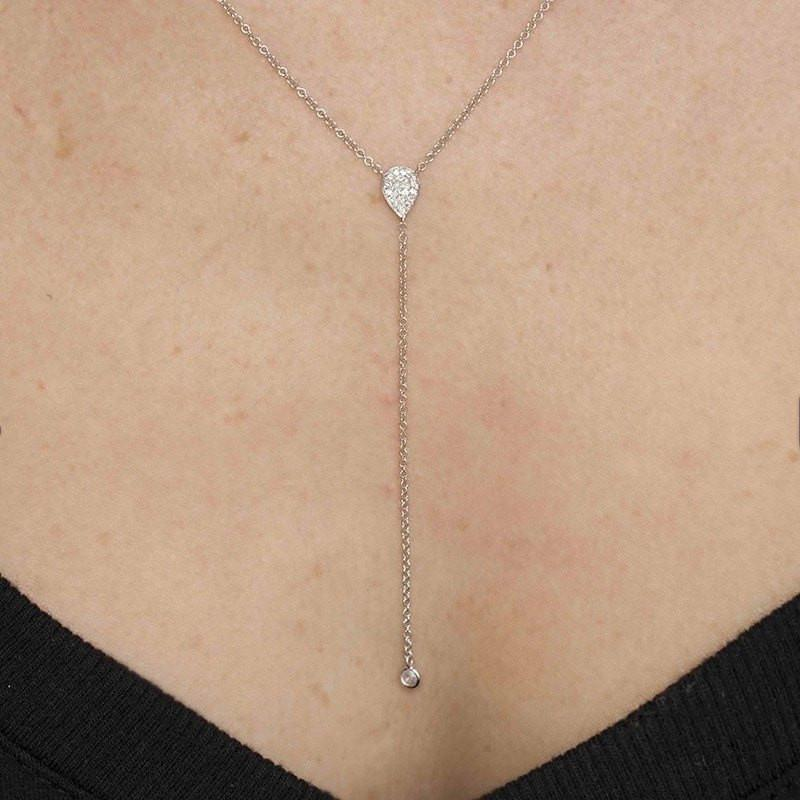 14KT Rose Gold Diamond Pear Flirt Lariat Necklace