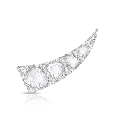 14KT White Gold Diamond Slice Horn Ear Climber