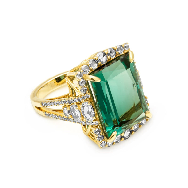 18KT Yellow Gold Diamond Tourmaline Daphne Ring