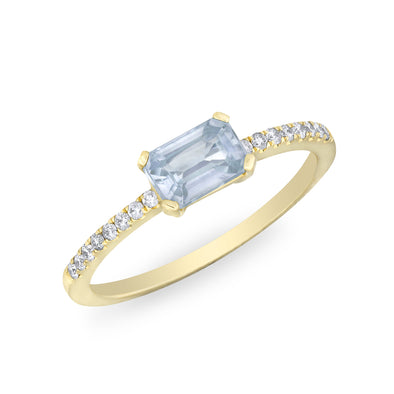 blue sapphire stone engagement promise diamond emerald cut cute ring