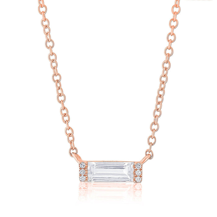 14KT Rose Gold Diamond White Topaz Brick Necklace