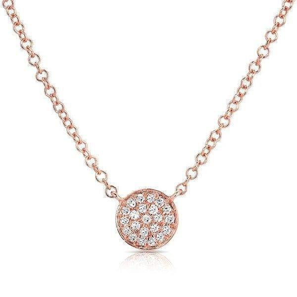 14KT Rose Gold Diamond Mini Disc Necklace