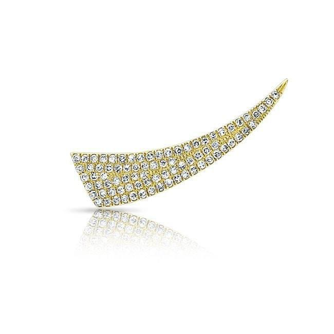 14KT Yellow Gold Diamond Horn Ear Climber