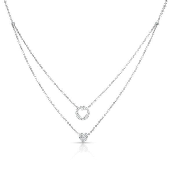 14KT White Gold Diamond Heart to Heart Necklace