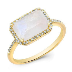 14KT Yellow Gold Moonstone Diamond Chic Ring