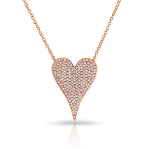 14KT Rose Gold Diamond Medium Modern Pave Heart Necklace