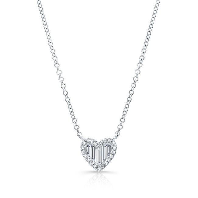 14KT White Gold Baguette Diamond Heart Necklace