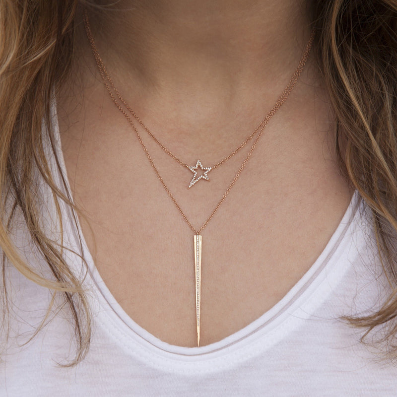 14KT Rose Gold Diamond Bowie Rockstar Necklace-Anne Sisteron