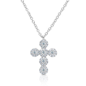 14KT White Gold Diamond Luxe Cross Necklace