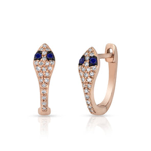 14KT Rose Gold Diamond Blue Sapphire Snake Huggie Earrings