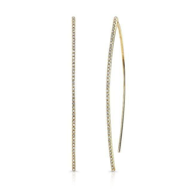 14KT Yellow Gold Diamond Wishbone Earrings