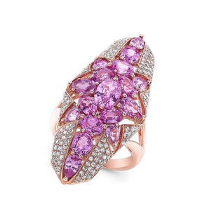14KT Rose Gold Pink Sapphire Star Diamond Ring
