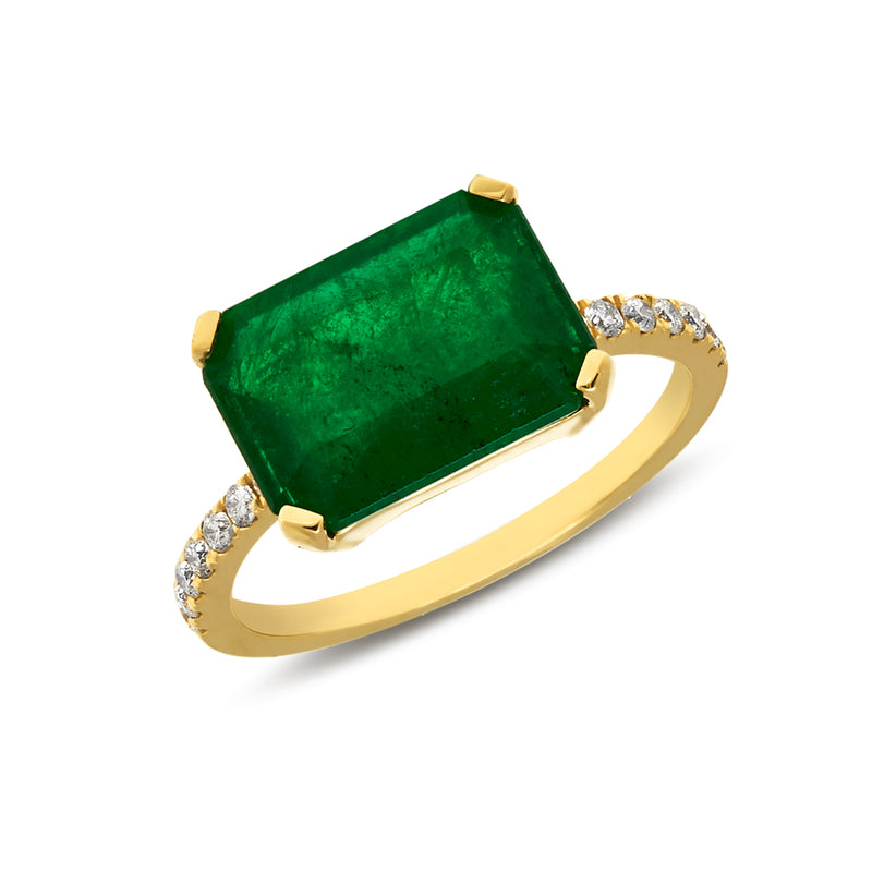18KT Yellow Gold Emerald Diamond Luxe Maddie Ring