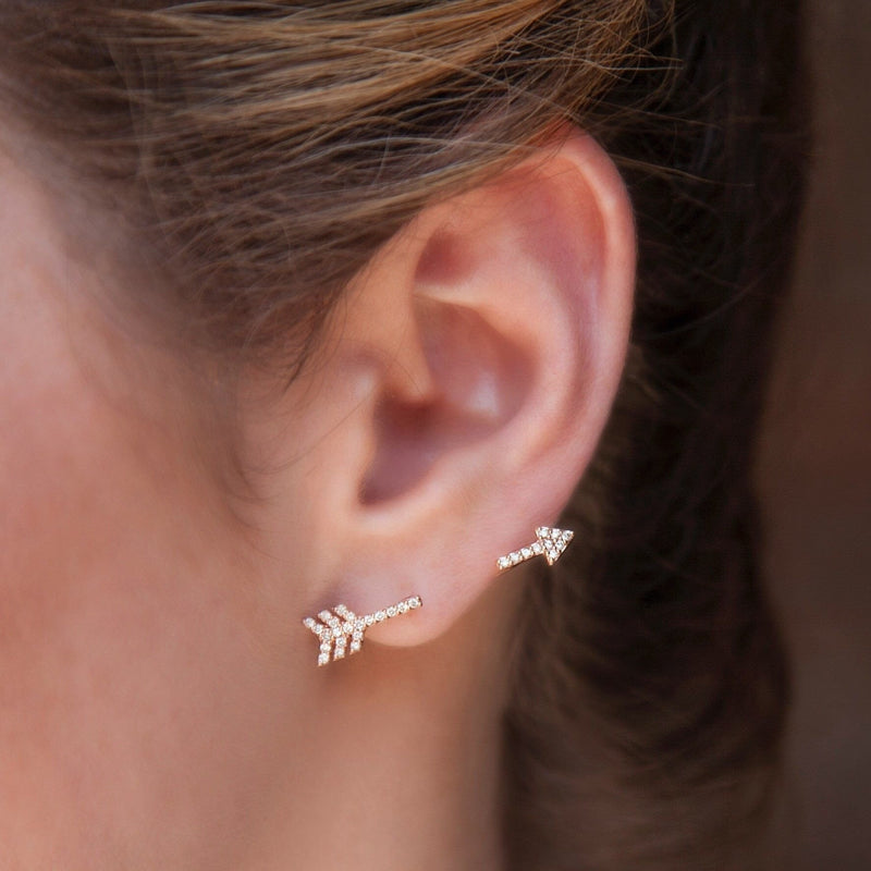 14KT White Gold Diamond Open Arrow Ear Climber