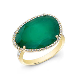 14KT Yellow Gold Green Onyx Organic Diamond Cocktail Ring