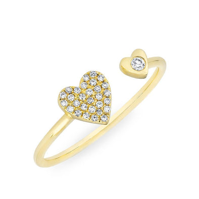 14KT Yellow Gold Diamond Double Heart Ring