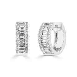 14KT White Gold Baguette Diamond Elle Huggie Earrings