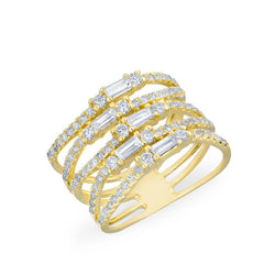 14KT Yellow Gold Diamond Baguette Stacked Ring