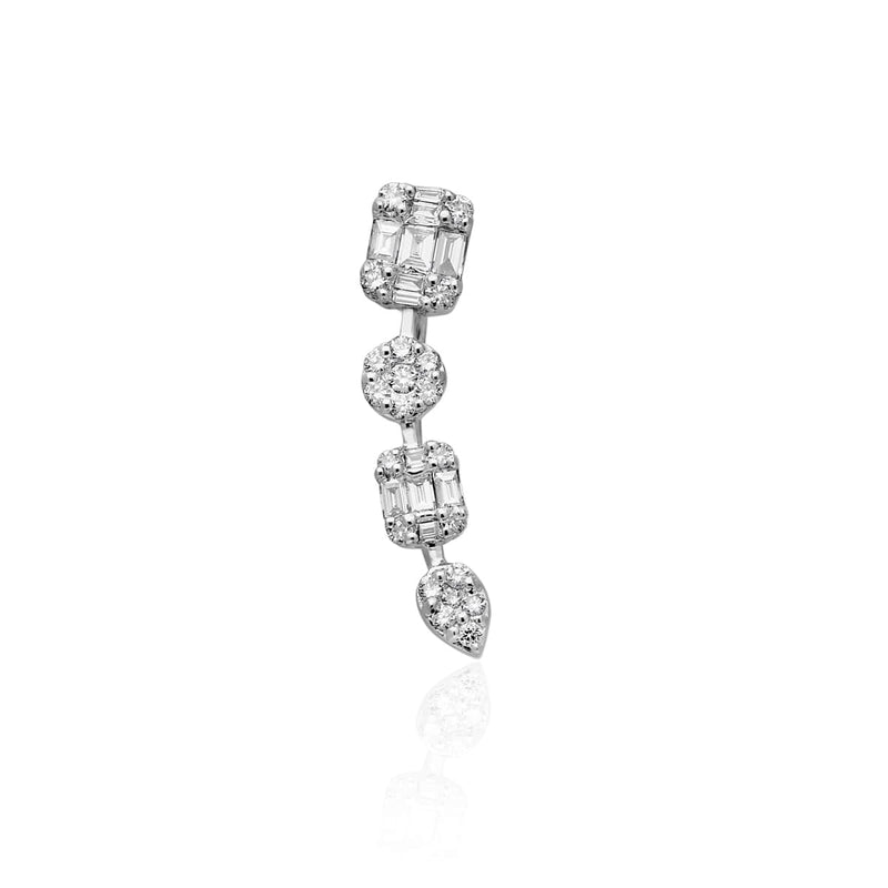 14KT White Gold Baguette Diamond Camille Ear Climber