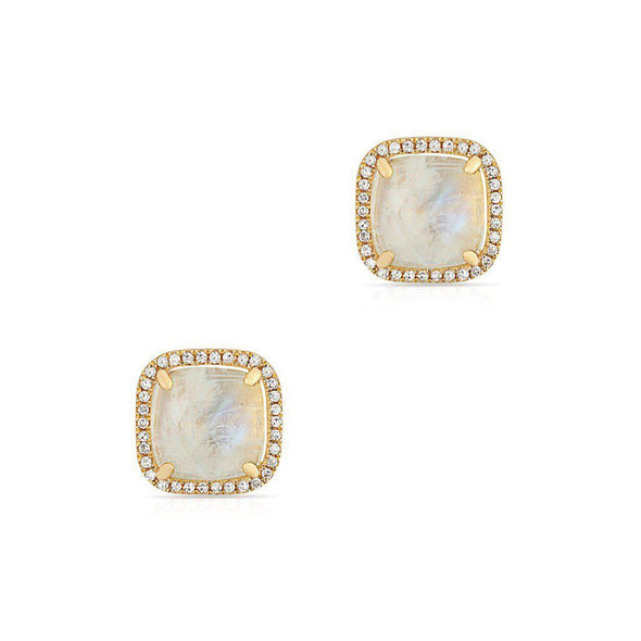 14KT Yellow Gold Moonstone Diamond Square Stud Earrings