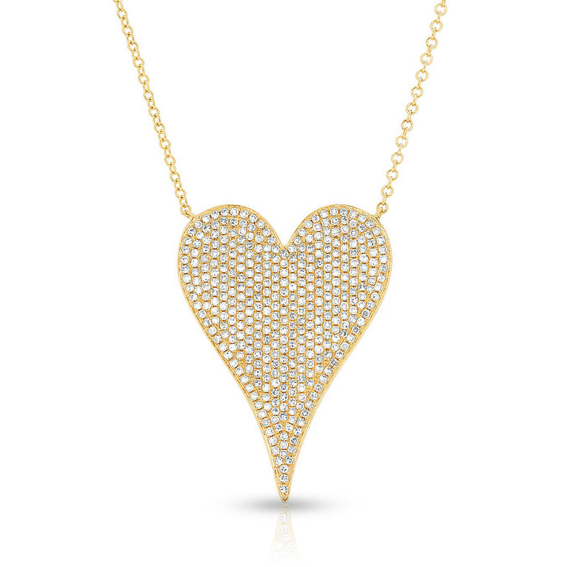 14KT Yellow Gold Diamond Large Modern Pave Heart Necklace