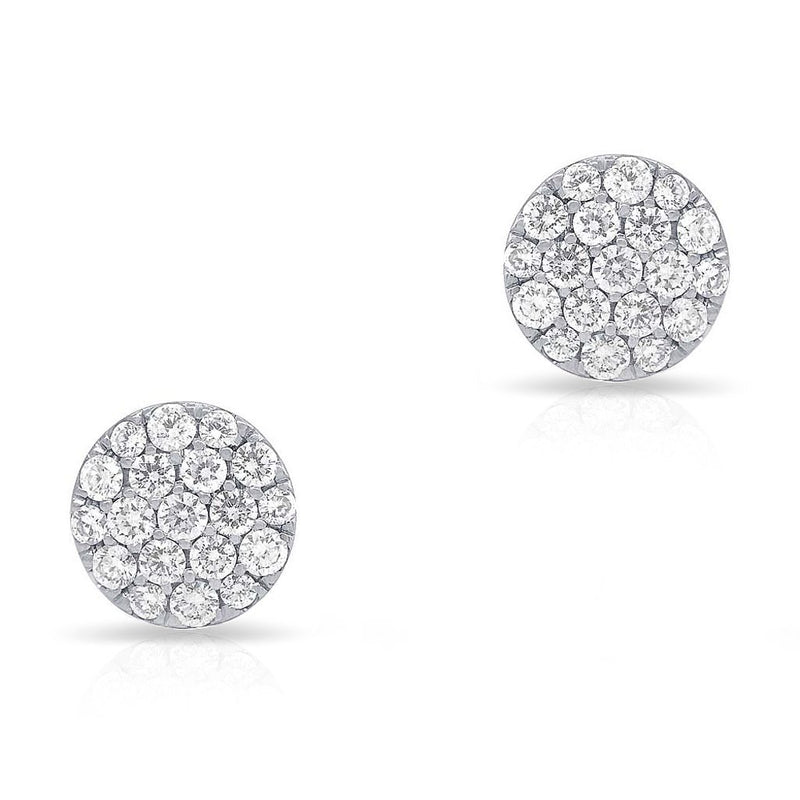 14KT White Gold Large Diamond Disc Stud Earrings