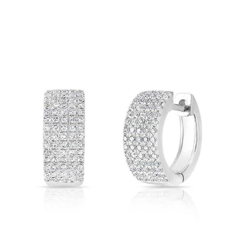 14KT White Gold Diamond Pave Kiara Huggie Earrings