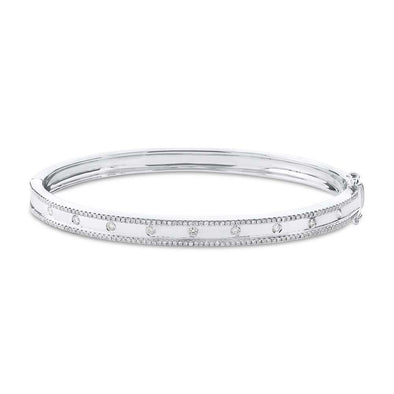 14KT White Gold Diamond Trimmed Bangle