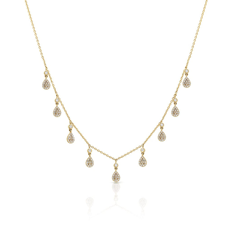 14KT Yellow Gold Bezel Diamond Pear Pave Dangle Necklace