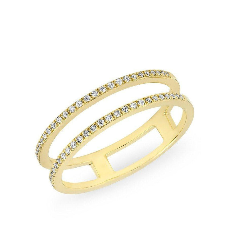 14KT Yellow Gold Diamond Double Bar Band Ring