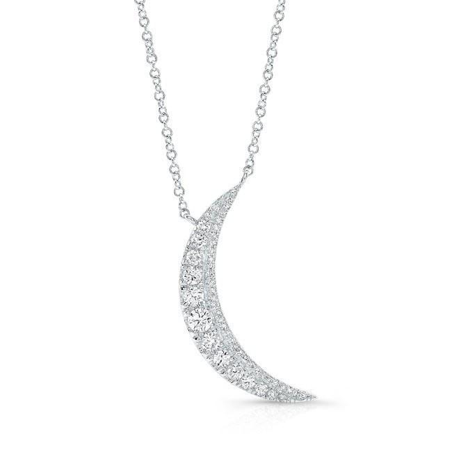14KT White Gold Diamond Luna Necklace