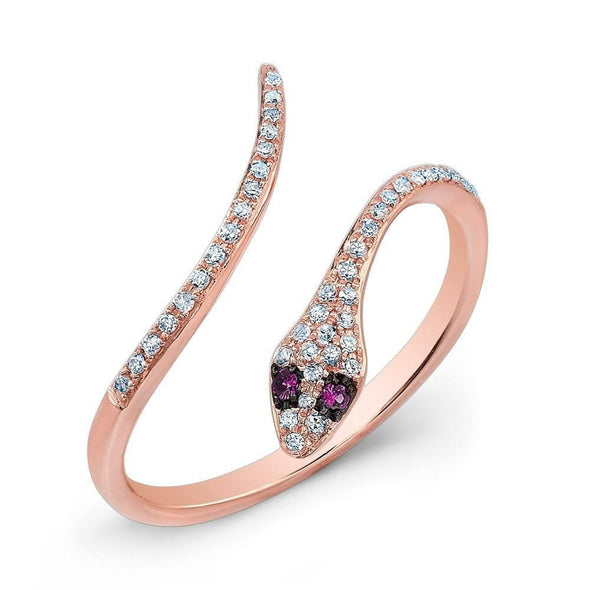 14KT Rose Gold Diamond Slytherin Ring with Ruby Eyes