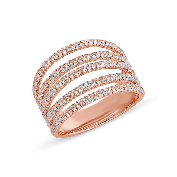 layered band abstract diamond ring