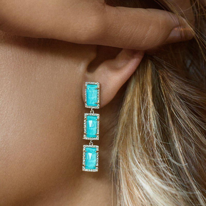 14KT Yellow Gold Turquoise Diamond Triple Rectangle Drop Shandi Earrings-Anne Sisteron