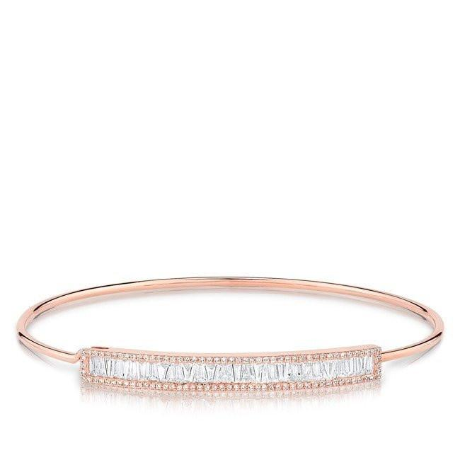 14KT Rose Gold Diamond Baguette Latch Bracelet
